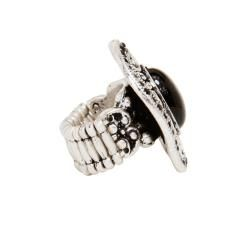 Silvertone Brass Black Laminate Resin Fashion Ring