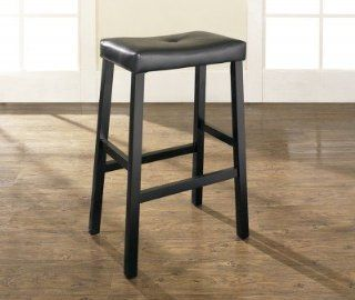 Crosley Furniture Upholstered Saddle Seat Bar Stool, Black