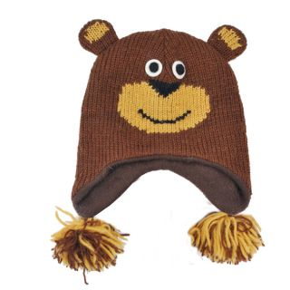 Kids Wool Fleece Lined Forest Bear Hat (Nepal)