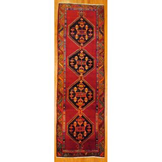 Persian Hand knotted Red/ Brown Tribal Hamadan Wool Rug (310 x 126