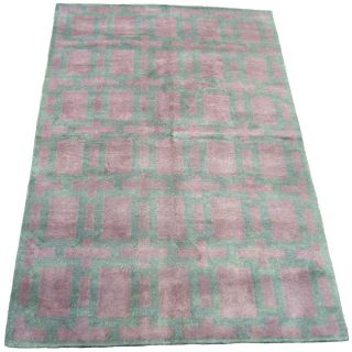 Indo Hand knotted Purple/ Blue Wool Rug (5 x 8)