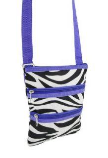 Zebra Print with Purple Trim Crossbody Travel Bag