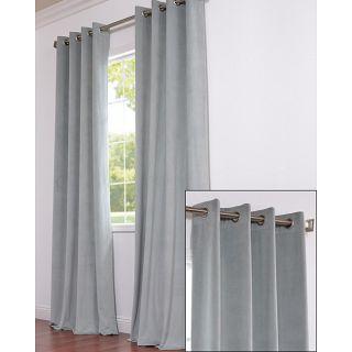 Signature Grommet Grey Blue Velvet 120 Inch Curtain Panel