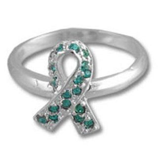 Swarovski Crystal Teal Ribbon Ovarian Cancer Awareness