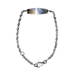 Sterling Silver Childrens Enameled Bear Adjustable ID Bracelet