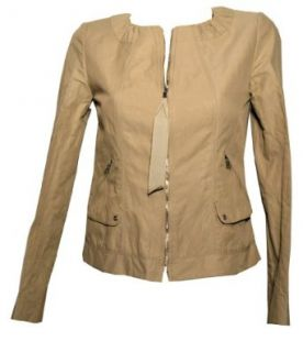 Elie Tahari Zaria Jacket Tan Zip Front Size X Small