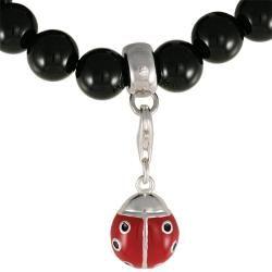 Maddy Emerson Sterling Silver Black Onyx Ladybug Charm Bracelet