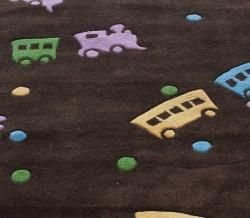 Handmade Luna Deco Kids Train Rug (5 x 7)