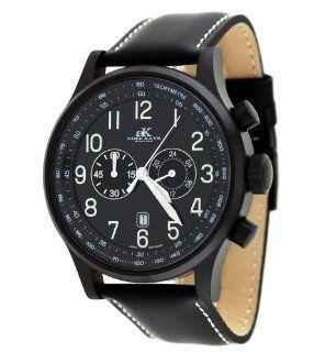 Adee Kaye AK201 MIPB Black Mens Aeromaster Black Dial Chronograph