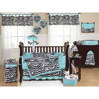 Sweet Jojo Designs Blue Funky Zebra 9 piece Crib Bedding Set Today $