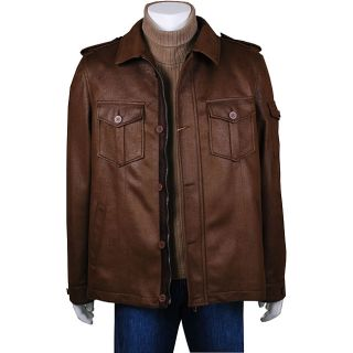Mantoni Mens Army Green Faux Leather Jacket