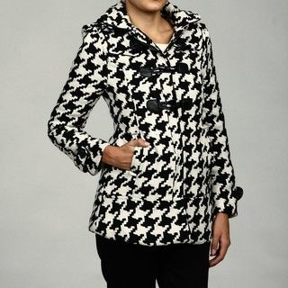 Last Kiss Womens Black/ White Houndstooth Toggle Coat FINAL SALE