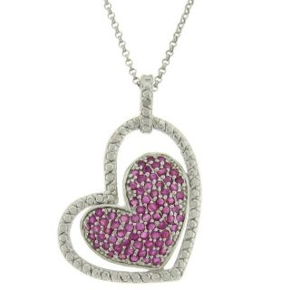 Sterling Silver Ruby and Diamond Accent Double Heart Necklace
