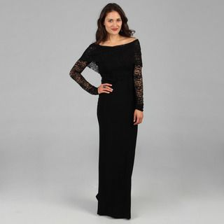 Tabeez Womens Black Lace Top Gown