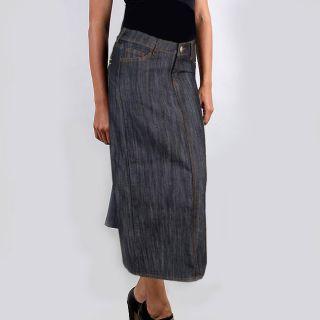 Tabeez Womens Indigo Wash Straight Denim Skirt