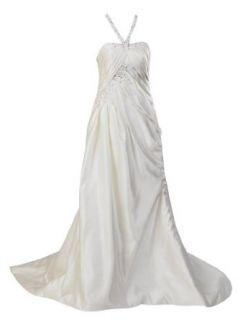 Artwedding Halter Pleated Satin Bridal Wedding Dress with
