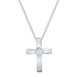10k White Gold Diamond Accent Cross Necklace