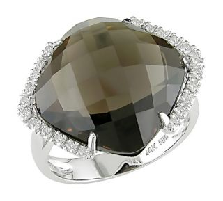 14k White Gold Square Smoky Quartz Ring
