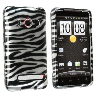 Silver and Black Zebra Snap on Plastic Case for HTC EVO 4G