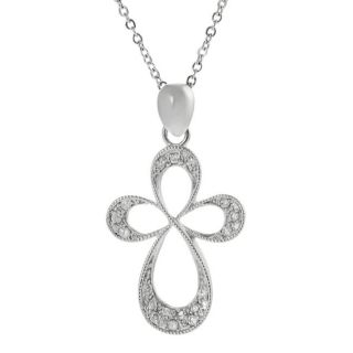 Journee Collection Silvertone Pave set CZ Cross Necklace
