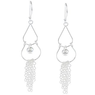La Preciosa Sterling Silver Teardrop with Open Circle and Chains
