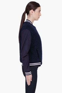 Surface To Air Navy Wool Varsity Jacket for women