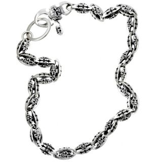 Kate n Al Oxidized Silver Skull and Cross Wallet Chain