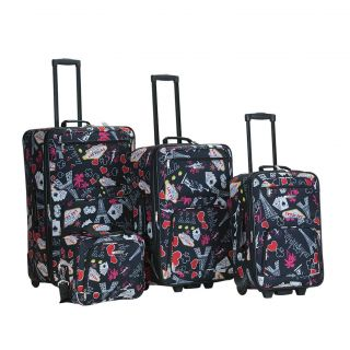 Rockland Las Vegas Black 4 piece Expandable Luggage Set MSRP $240.00