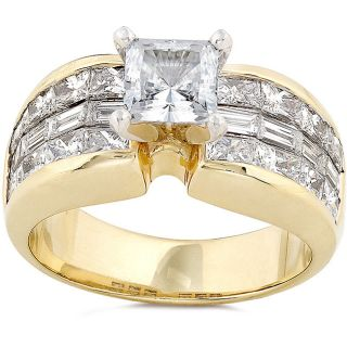 14k Gold 2 1/2ct TDW Princess Diamond Ring (G, VS1)