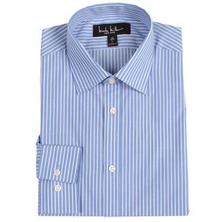 Nicole Miller Mens Blue/ White Striped Dress Shirt