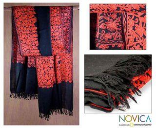Wool Black Floral Drama Shawl (India)