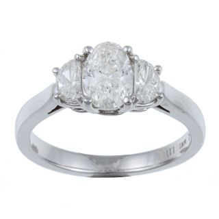 14k White Gold 1 1/6ct TDW Oval and Crescent Diamond 3 stone Ring (H I