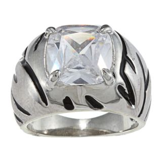 Celeste Silvertone Cushion cut CZ Tiger Stripe Cocktail Ring Today $