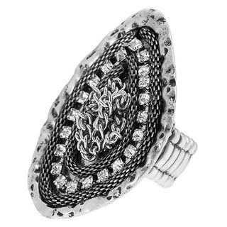 Journee Collection Stainless Steel Rhinestone Stretch Fashion Ring
