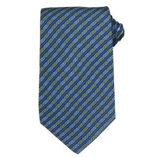 Versace Mens Greek Key with Solid Stripe Silk Tie