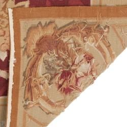 Asian Red Aubusson Wool Rug (12 x 15)