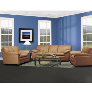 Full Top grain Leather 3 piece Camel Brown Sofa Set