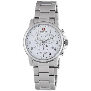 Swiss Military Mens Soldier Stainless Steel White Dial Chronograph