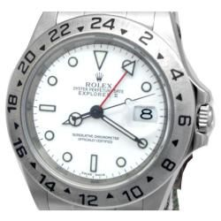 Pre owned Rolex Mens Stainless Steel Oyster Perpetual Explorer II