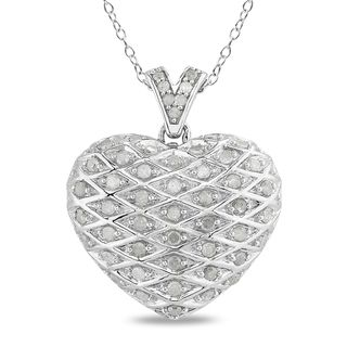 Miadora Sterling Silver 1ct TDW Diamond Heart Necklace (I J, I2 I3