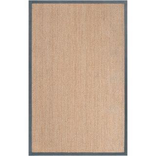 Hand woven Forli Tan Natural Fiber Seagrass Cotton Border Rug (5 x 8