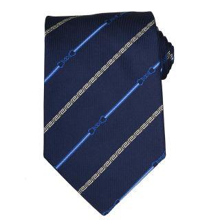 Versace Mens Bit and Greek Key Stripe Silk Tie