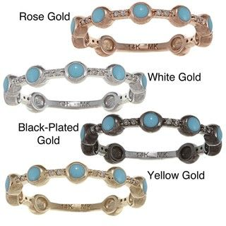 14k Gold Diamond Accent and Light Blue Enamel Stackable Band