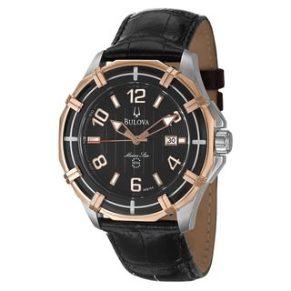 Bulova Mens Sport Marine Star Rose Goldtone Steel/ Black Leather