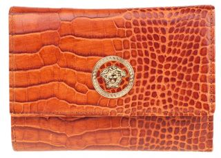Versace Womens Brown Croc Leather Trifold Wallet