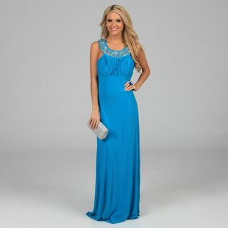 Ignite Evenings Womens Turquoise Jeweled Neckline Long Halter Dress