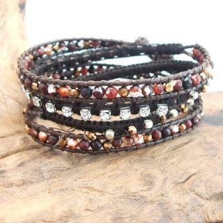 Brown Facets Jasper  Crystal Snake Cord Leather Wrap Bracelet