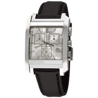 Burberry Mens Square Silver Dial Black Strap Chronograph Watch