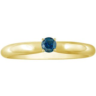 14k Gold 1/8ct TDW Blue Diamond Solitaire Ring