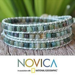 Leather Forest Moss Agate Wrap Bracelet (Thailand)